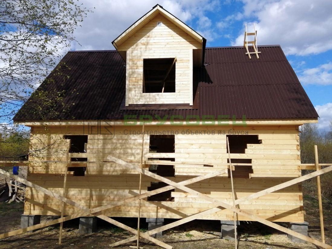Дом по индивидуальному проекту 8×9 м (под усадку)